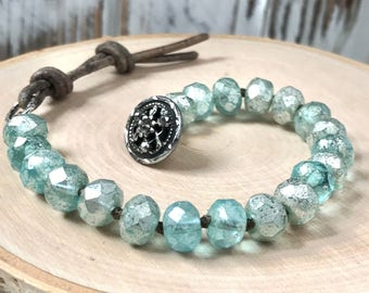Boho Bracelet - Ice Blue Mercury coated Picasso Czech Beaded Bracelet - Hand-knotted - Vintage, Steel Cut Button - Vintage Glam Bracelet