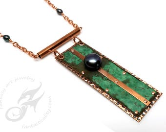 Hammered Verdigris Copper Necklace w/ Black Pearls & Chrysocholla, Riveted, Natural Green Patina, Repurposed Copper, City Hall Relics #N0693