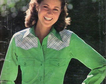 1970s Womens Western Shirt Pattern - Vintage See & Sew 7619 - Size 10 Bust 32 1/2 UNCUT FF