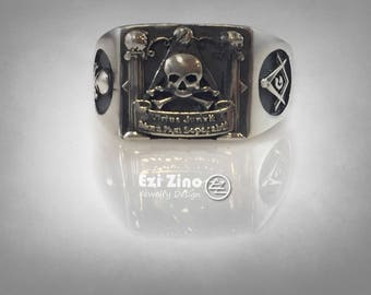 Masonic Skull And Pillars Freimaurer Sterling Silver Ring All Size Available
