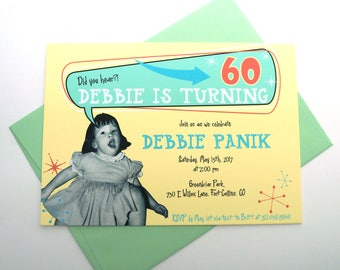 60th Birthday Invitation with Personal Photo DIGITAL DESIGN