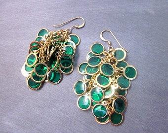 Unique Green Dangles -- Green Cluster Earrings -- Transparent Earrings -- Green Circle Earrings -- Dark Green & Gold Earrings -- Epoxy Drops