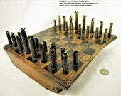 Mixed caliber bullet shell chess set and Optional 11 inch Red Oak log board #1020160012 -Free Shipping to U.S.