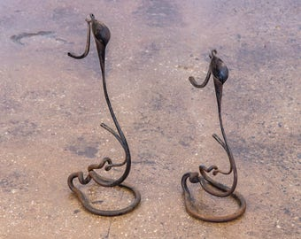 Pair of Calla Lily Welded Candlesticks