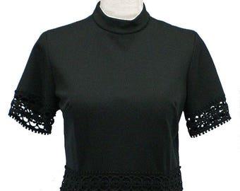 Vintage 1960s Mod Fit 'n' Flare Little Black Dress, Lace Detail, Poly Knit, Sz Med or Large 10
