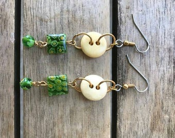 Green Grows My Garden Button Earrings One of A Kind
