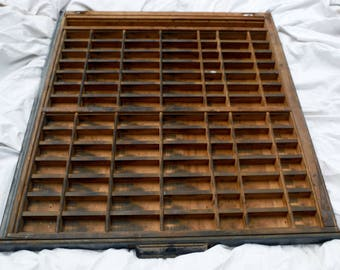 GOOD Vintage Printer's Letterpress Type Tray Drawer Shadow Box - Brass Accents - Metal Handle - 99 Compartments