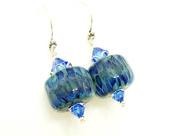 Blue Earrings, Boro Glass Earrings, Glass Bead Earrings, Lampwork Earrings, Glass Bead Jewelry, Dark Blue Earrings, Royal Blue Earrings