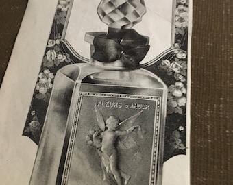 Circa 1921 Huers d' Amour perfume Paris ad. Art Nouveau 3 x 13 original ad.