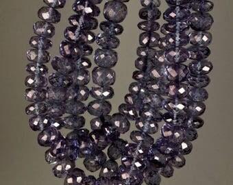 """ON SALE Blue Quartz Rondelles Mystic Blue Violet Quartz Rondels Faceted Rondelles  Earth Mined Gemstone - 6 to 6.5mm - 4"""" Strand"""