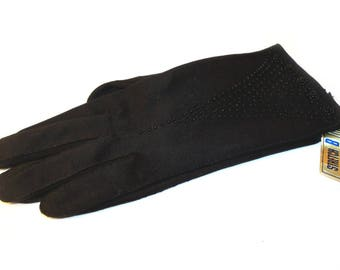 Deadstock Vintage 1950s Black Gloves With Glass Bead Trim Size 7-1/2 to 8-1/2 MUST SEE