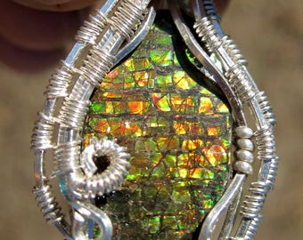 A Flash From The Past///Ammolite and Sterling Silver Heady Wire Wrap Pendant, Handmade, One of a Kind, Art