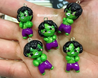 Angry Hulk Inspired Kawaii Green Man Charm
