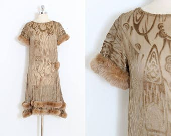 Vintage 1920s Dress | vintage 20s flapper dress | velvet burnout fur trim | xs/s
