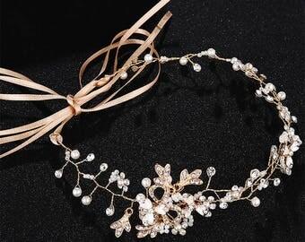 Bridal hair vine golden rose