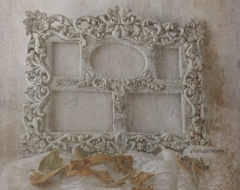 Ornate Collage Photo Frame. French Chic Cottage Romance. Victorian Charm. Shabby Painted Frame. Ornate Floral Motif. Nursery. Wedding