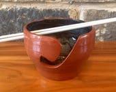 Terracotta and green yarn bowl ceramic pottery knitting crochet hand thrown