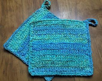 Pot Holders, Ocean Waves, Greens, Aquas & Blues, Crochet Set of 2, 100% Cotton, 2 Strands of Yarn, Eco Friendly Large 8 1/2 x 8 1/2