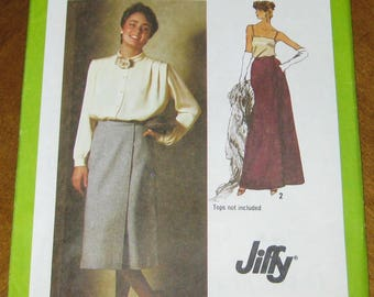 Vintage 1979 Simplicity sewing pattern for Misses'Jiffy Front-wrap skirt in two lengths.Size 12.New factory folded.