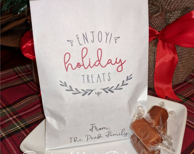 ENJOY HOLIDAY TREATS Christmas Holiday Candy Bags, Personalized Favors - Filled w/ caramel, toffee or brittle - great gift idea