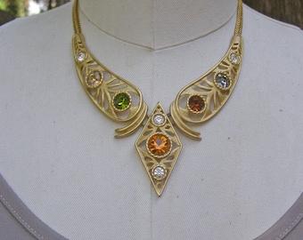 Big Bold Chunky Necklace, Vintage 1980s Jewelry, Clear Amber Green Topaz  Rhinestones, Statement Jewelry