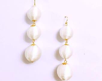 White Cord wrapped Les Bonbon bon bon Earrings 3 Balls Hanging