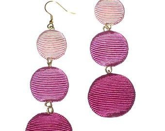 Pink Ombre Cord wrapped Les Bonbon bon bon Earrings 3 Balls Hanging