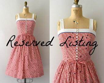 RESERVED LISTING -- 1970s Vintage Sundress  - 70s Lanz Red Floral Dress