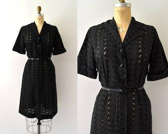 Vintage 1950s Dress - 50s Black Eyelet Shirtwaist Day Dress
