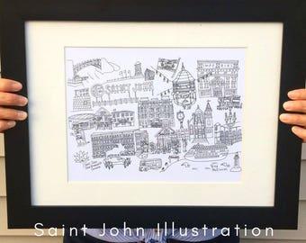 "Saint John, New Brunswick, Canada, City Illustration 11"" x 14"" (Print)"