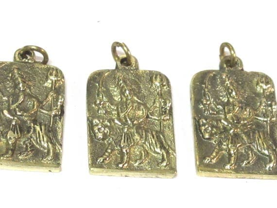 3 Pendants - Hindu Goddess Durga Maa and Om reversible Brass amulet pendant - CP114s