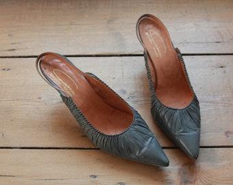 Gina Ispirazione Designer Grey Slingback Heels UK 6