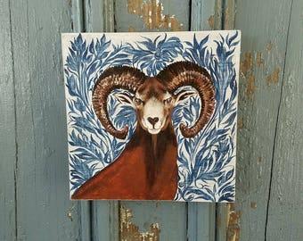 Deer Portrait original acrylic painting on repurposed wood