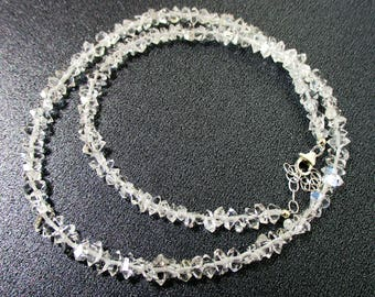 Herkimer Diamond Quartz Necklace, Sterling Silver. Beaded Jewelry, Gemstone, Jewelry, Jewellery