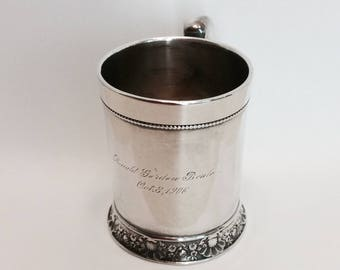 Antique Silver Plate Cup Vintage Baby Cup Silver Cup
