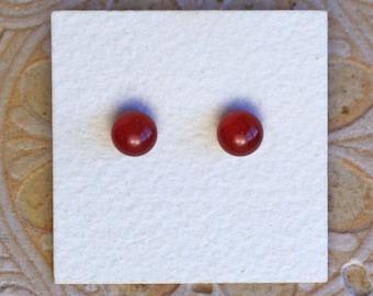 Fused Glass Earrings, Petite, Dark Red  DGE-1172