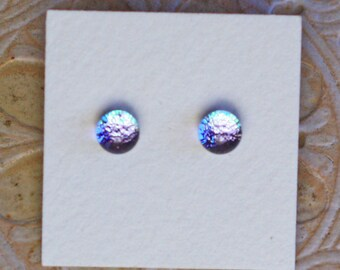 Dichroic Glass Earrings , Petite, Silver  DGE-1236