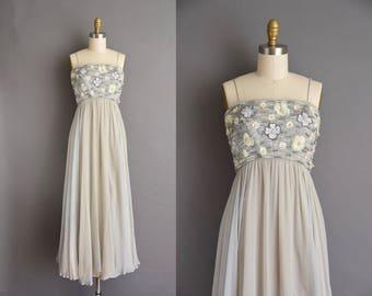 MALCOLM STARR 1960s gray chiffon behave beaded vintage dress. vintage 60s dress
