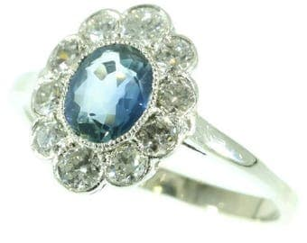 Light blue sapphire diamond engagement ring platinum old European cut diamonds .80ct vintage ring