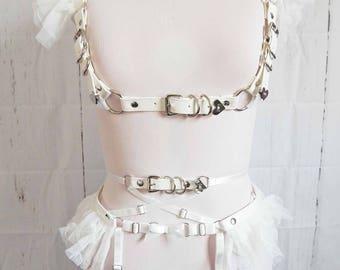 PRE-ORDER White Frill Underbust Body Harness Set, White Body Harness Set, White Burlesque Harness Set, White Ruffled Harness Set