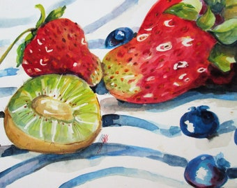 Kiwi and Strawberries fruit watercolor still life 10x14 Art by Delilah