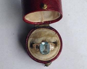 Vintage Ostby Barton Aquamarine Ring in 10k Yellow Gold- Sz 6