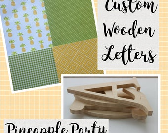 Kids Room Decor, Custom Wooden Letters, Baby Nursery, Wall Hanging, Pineapple Party, Hawaiian Theme, Yellow and Green, Gender Neutral