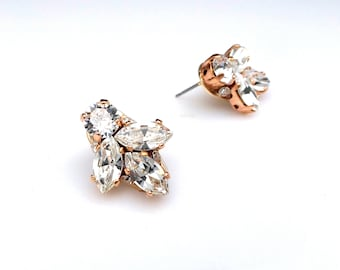 bridesmaid bridal party gift prom jewelry wedding swarovski marquise and round clear rhinestone crystal rose gold clip on or post earrings