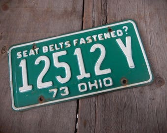 License Plates Ohio Vintage 1973 Rustic Green Garage, Industrial, Man Cave, Pub, Bar Decor, Barn, Wall Hanging, Old Sign Home Decor