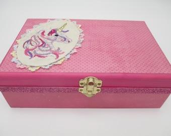 Birthday Unicorn Time Capsule -Wooden Keepsake Box-  Birthday Letters - Photo Keepsake Box - Baby Shower Gift - 18th. Birthday Gift