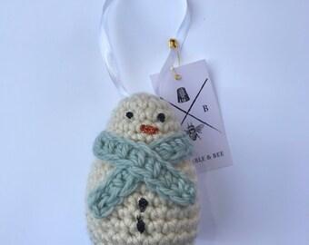 Snowman ornament - christmas ornament - christmas snowman - crochet ornament - crochet snowman - christmas decoration