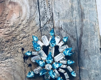 Vintage Rhinestone Pendant Aqua and White Gifts For Her Sparkly Pin Starburst Gifts Under 40 Jewelry Vintage Style Holiday New Years