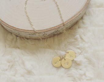 Gold filled Initial charm necklace, Abbie, gold filled discs necklace, personalized necklace, hand stamped