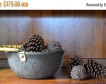 SALE 25% OFF vintage raymor brown pottery bowl / aldo londi bitossi / mid century modern / italian ceramics